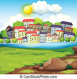 A village near the river - Illustration of a village near...