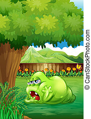 A tired green monster near the tree - Illustration of a...