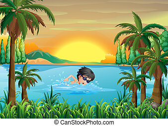 A boy swimming at the lake - Illustration of a boy swimming...