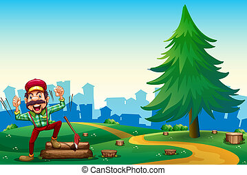 A woodman chopping woods at the hilltop near the pine tree -...