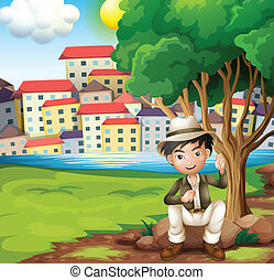 A man sitting above the rock under the tree - Illustration...