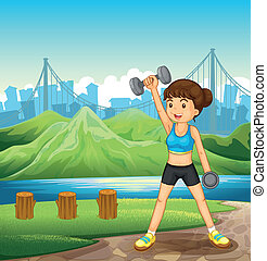 A lady exercising near the river - Illustration of a lady...