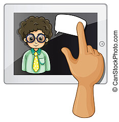 A finger touching the gadget with a curly-haired man