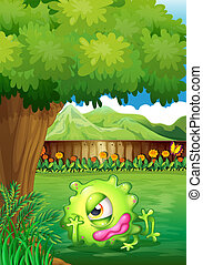 A yard with a monster resting under the tree - Illustration...