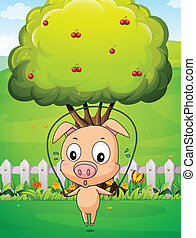 A pig playing skipping rope near the tree - Illustration of...