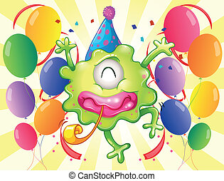 A happy monster in the middle of the balloons - Illustration...