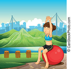 A girl exercising near the river across the mountains -...