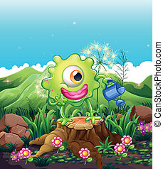 A monster above the stump watering the plants - Illustration...