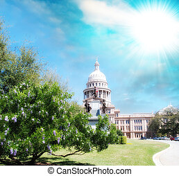 Austin, Texas. Beautiful view of Capitol with vegetation and sur