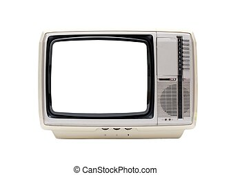TV - Vintage TV set isolated on white with blank white...