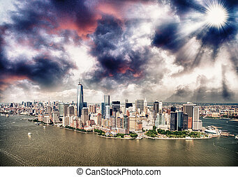 Helicopter view of New York City, Manhattan Island.