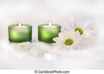 Green candles and daisies on dreamy white background