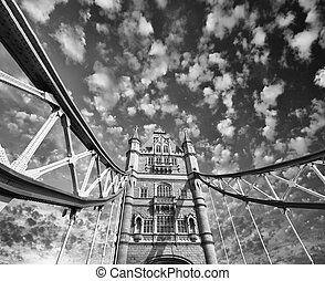 The Tower Bridge in London. Magnificent architecture of famous l