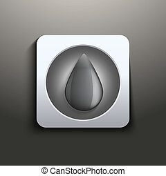 Ink button with black drop