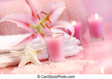 Pink soothing spa feeling with flower and pink candles