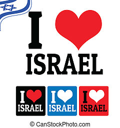 I love Israel sign and labels on white background, vector...
