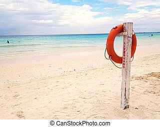 Lifebuoy by the beach