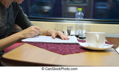 Business woman working in the train - Business woman working...