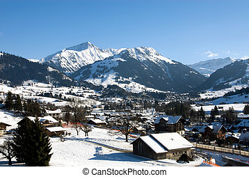 Winter Scene - A winter scene in Gstaad, Switzerland