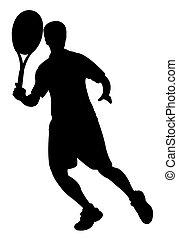 tenis, jugador, niño, silueta, vector