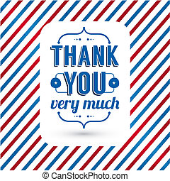 Thank you card on tricolor grunge background. Gratitude card...