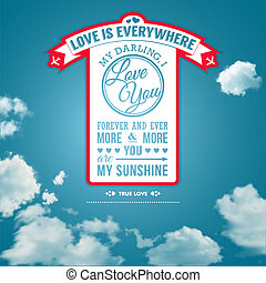 Love you poster in retro style on a summer sky background...