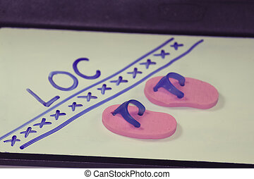 Miniature rubber slippers with wording line of control...