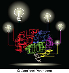 Mental Power - Illustration of line brain and and lightbulb...