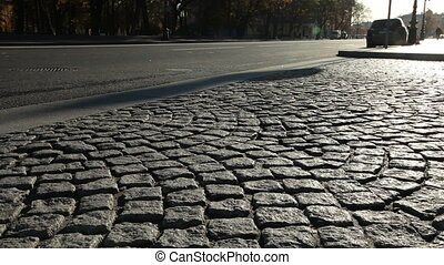 Cobblestone road at St Petersburg - Cobblestone road at...