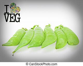 Pods of Sugar Snap Peas, Go Veg, Concept