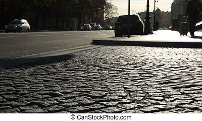Cobblestone road at St. Petersburg - Cobblestone road at...