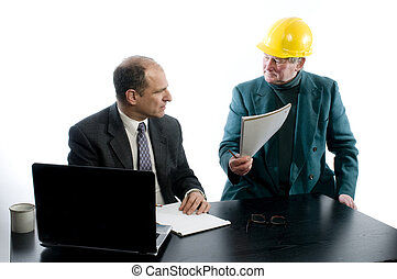 two business men construction business office agreement -...