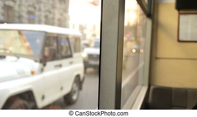 Public Transportation In The City - Looking through window...