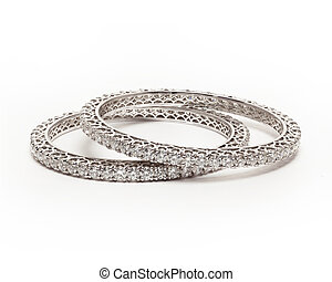 Diamond bracelet - Pair of Diamond bracelet bangles with...