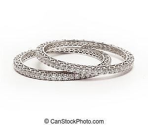 Diamond bracelet - Pair of Diamond bracelet (bangles) with...