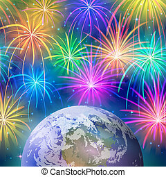 Earth in space with fireworks - Holiday background, space...