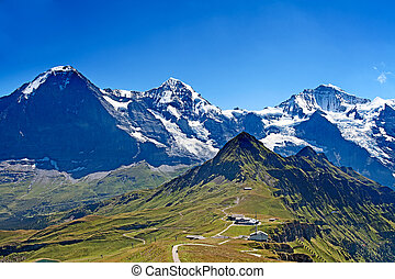 Mounts Eiger, Moench and Jungfrau  in the Jungfrau region