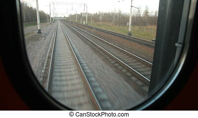 Last carriage of a train - Looking through window of last...
