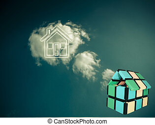 Close_up of a model home with Sky Background, Concept