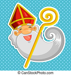 Sinterklaas - cartoon Sinterklaas (st. Nicholas) over dotted...