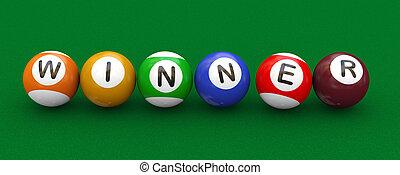 3d billiard pool balls winner - 3d illustration of billiard...