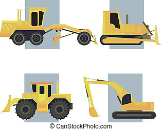 Set of simple icon heavy machines. - Set of simple icon of...