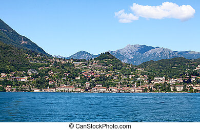 Lake Como - Panoramic view of Varena town (Como lake, Italy)