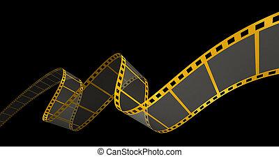 Gold Film Strip on black - 3D Render of Motion Picture Film.