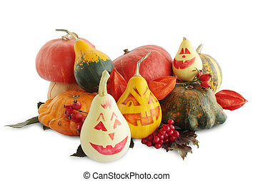 Still-life with painted halloween pumpkins on white