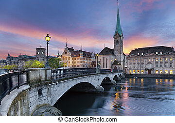 Zurich - Image of Zurich, capital of Switzerland, during...