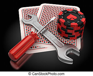 cards, gambling chips and tools