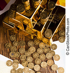 Gold bullion, coins