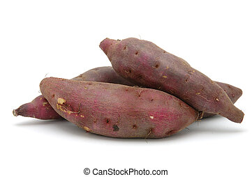 Japanese sweet potatoes in isolated white background
