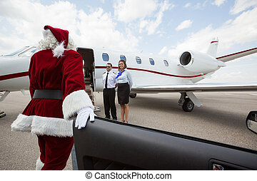 Luxury VIP santa with Private Jet - Santa disembarking car...